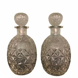 Set of glass serving decanters vintage